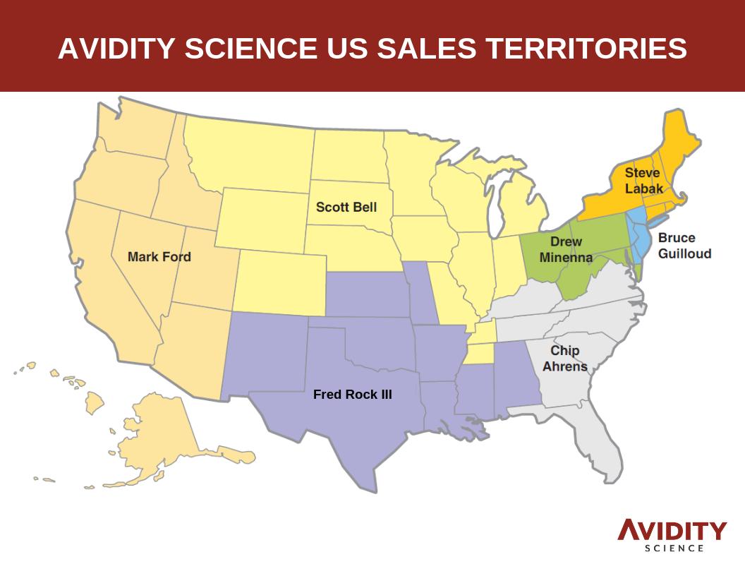 Avidity Science US Sales Territories